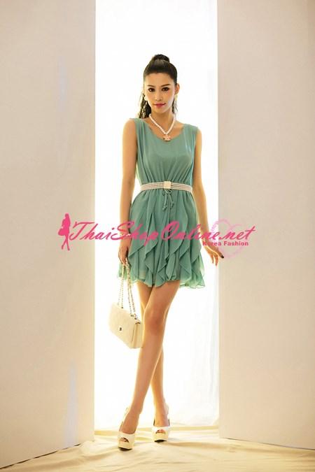 ชุดเดรสสั้น แฟชั่นเกาหลีชุดทํางาน สีเขียว ผ้าชีฟอง ใส่ออกงาน น่ารัก ราคาถูก สวยมากๆครับ Thaishoponline (พร้อมส่ง)