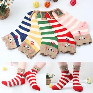 A043**พร้อมส่ง**(ปลีก+ส่ง) ถุงเท้าแฟชั่นเกาหลี ข้อสั้น มีหู มี 5 แบบ เนื้อดี งานนำเข้า( Made in Korea)