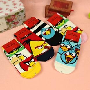 S055**พร้อมส่ง** (ปลีก+ส่ง) ถุงเท้าแฟชั่น ข้อสั้น ลาย Angry Bird เนื้อดี งานนำเข้า(Made in china)