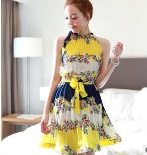 CHU VIVI DRESS ชุดเดรส แฟชั่นเกาหลี แขนกุด ใส่ทำงาน ผ้าชีฟอง ลายดอกไม้ สีเหลือง น้ำเงิน ขาว อัดพลีททั้งชุด แนววินเทจ ใส่ไปงานแต่งงาน พร้อมเชือกผูกเอว สามารถใส่ออกงานได้ สวยมากๆ