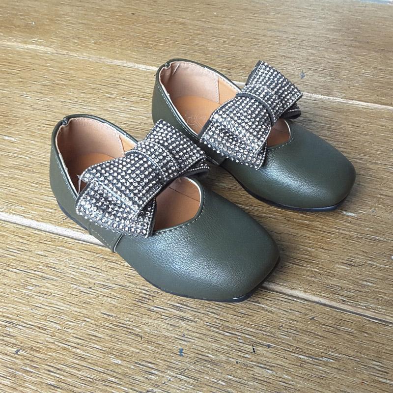 รองเท้าคัทชู #โบว์วิ้ง #หนังpu นิ่ม สีเขียวเข้ม