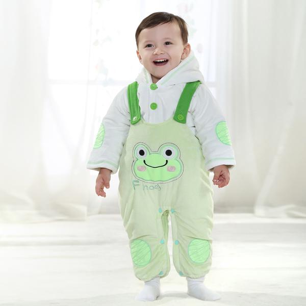 พร้อมส่ง เสื้อผ้าเด็กทารก เพศหญิง-ชาย 1-2 ปี ราคาส่งจากโรงงาน ชุดกันหนาว เสื้อแขนยาวมีหมวก กับเอี้ยมกบ รหัส YH39 สีเขียวอ่อนลายกบ 1 ชุด ไซร์ 90 (ส่วนสูง 73-80 cm )