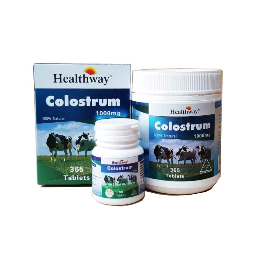 Healthway colostrum นมเพิ่มความสูง ต้านภูมิแพ้ ด้วยนม 365 เม็ด