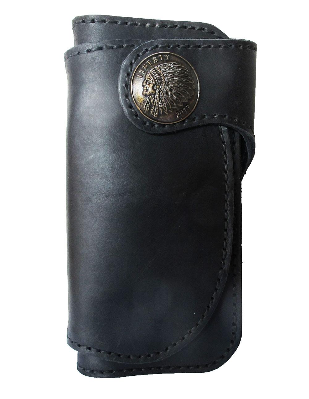 กระเป๋าสตางค์ยาว หนังวัวแท้ เกรด A สีดำ Styles Cow Boy หรูหรา