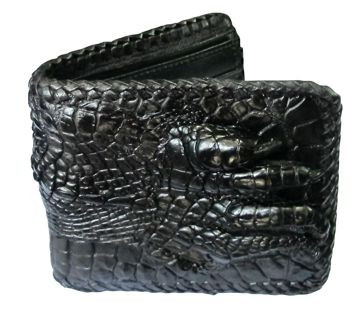 กระเป๋าสตางค์ 2 พับ หนังจระเข้เเท้ หนังต่อเย็บมือ สีดำ (มีนิ้วเท้า)