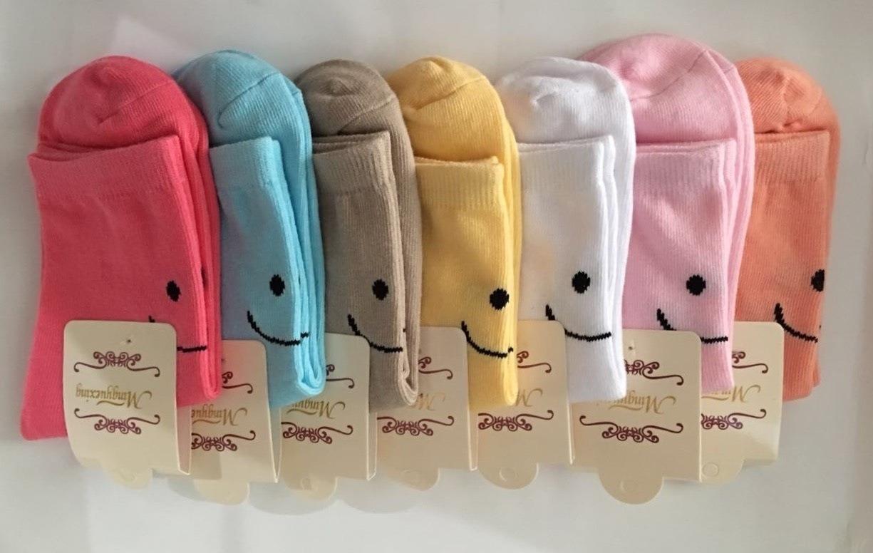 S608**พร้อมส่ง** (ปลีก+ส่ง) ถุงเท้าแฟชั่น เกาหลี ข้อยาว คละ 10 สี 10 คู่ต่อแพ็ค เนื้อดี งานนำเข้า(Made in China)