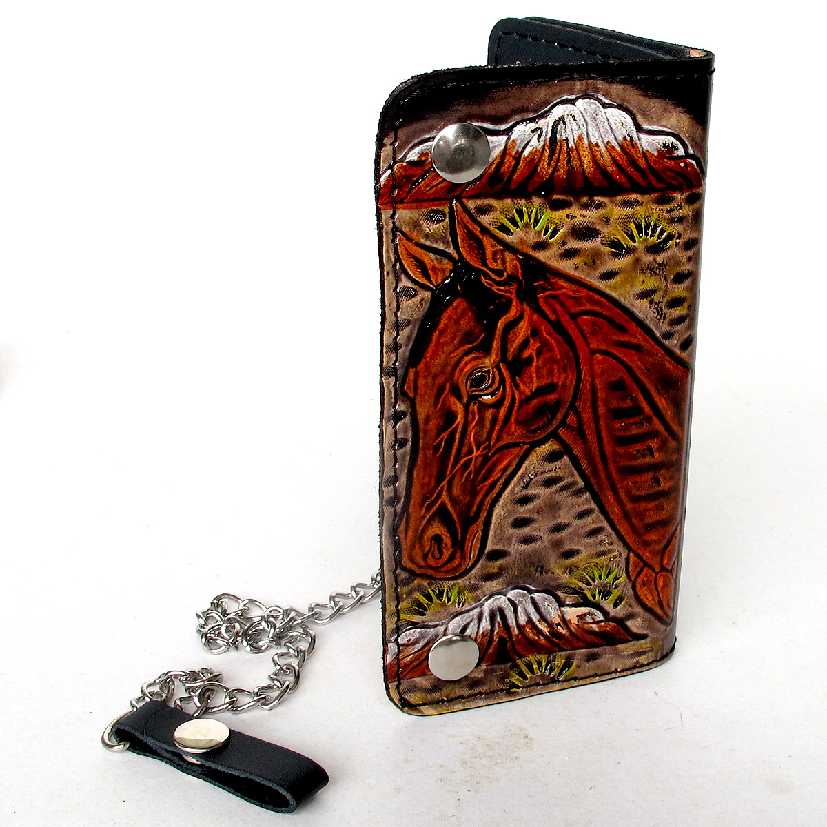 กระเป๋าสตางค์ยาว สีดำ ลวดลาย ม้าใหญ่ แบบ 2 พับ พร้อมโซ่