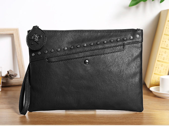 Pre-order กระเป๋าคลัทซ์ผู้ชาย มีสายคล้องมือ สายสะพายไหล่ แฟขั่นเกาหลี Man-8908 สีดำ