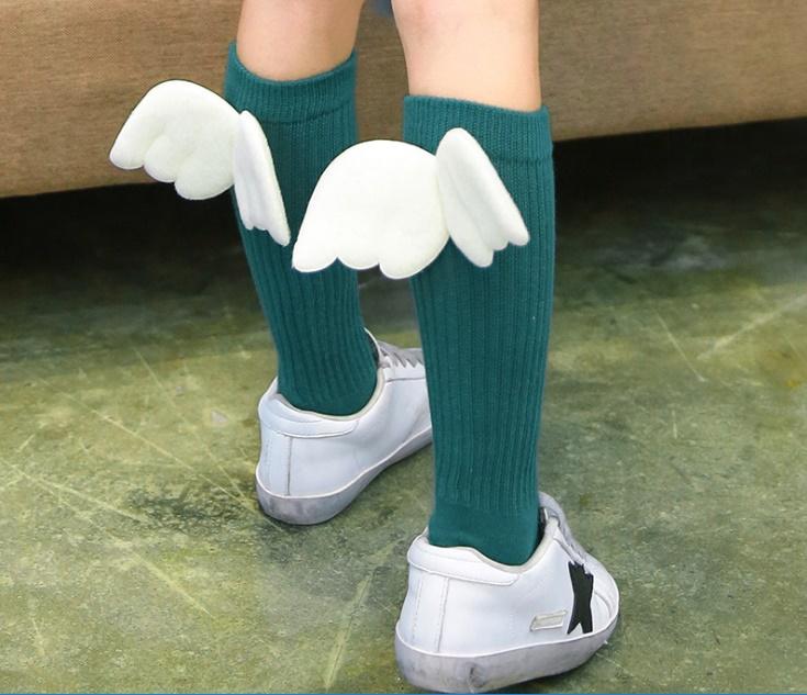ถุงเท้าแฟนซี#แต่งปีกนางฟ้า/สีเขียวเข้ม