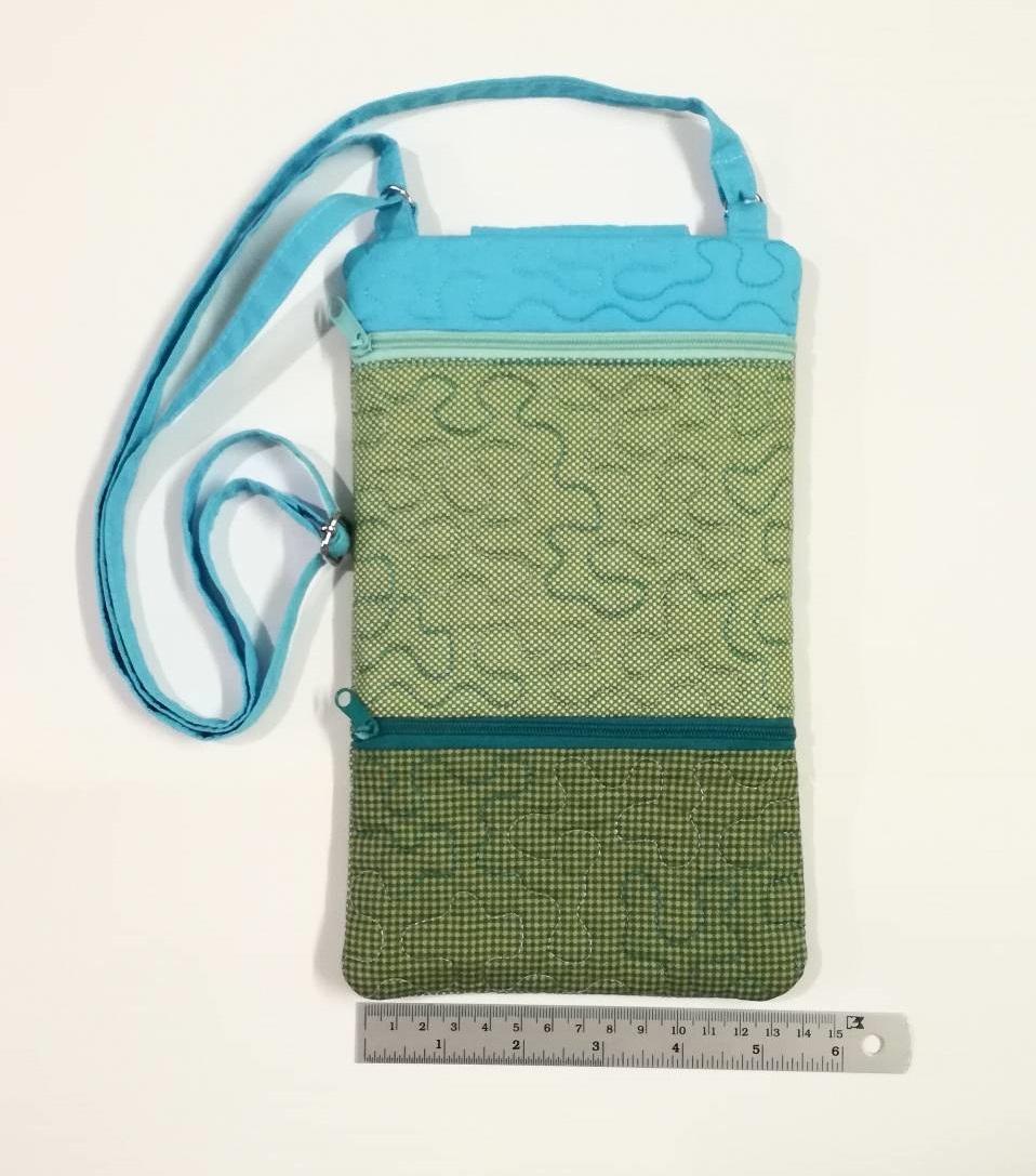 กระเป๋าสะพาย ติดซิป 2 ชั้น ทรงสี่เหลี่ยมแนวตั้ง สีฟ้า-เขียว