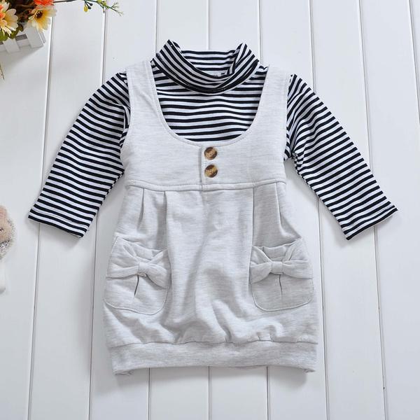 พร้อมส่ง เสื้อผ้าเด็กทารก เพศหญิง0-1-2-3 ปี ราคาส่งจากโรงงาน ชุดกระโปรงแขนยาว รหัส D0009 สีเทา 1 ชุด ไซร์ 100 (ส่วนสูง 80-90 cm )