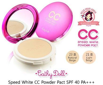 แป้งอัดแข็ง Cathy Doll CC Speed White Powder Pact SPF 45 PA++ หนัก 7.5g.