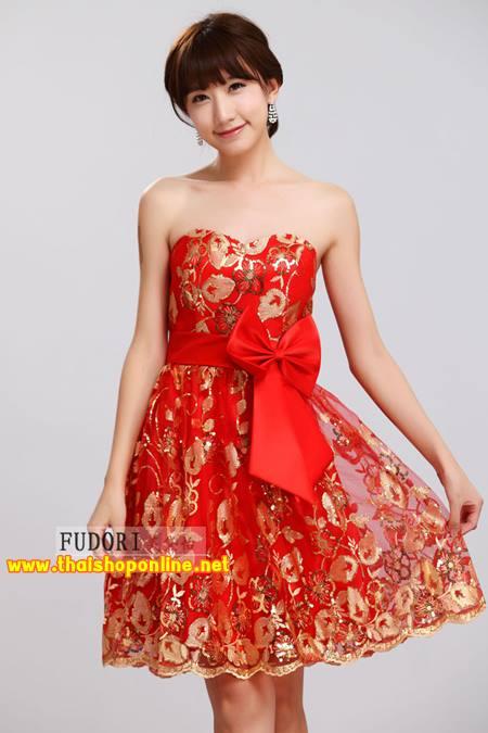 Pre-Order ชุดราตรีสั้น ชุดไปงานแต่งงาน Brand Fu daiyi สีแดง เกาะอก ตกแต่งโบว์สีแดงที่เอว เนื้อผ้าโพลีเอสเตอร์ ยืดหยุ่นดี ไม่ยับง่าย