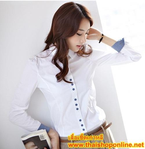 เสื้อเกาหลี paiye เสื้อเชิ๊ตผ้าฝ้าย สีขาว แขนยาวคอปก ติดกระดุมผ่าหน้า ผูกโบที่คอสวยเหมือนแบบครับ thaishoponline พร้อมส่ง