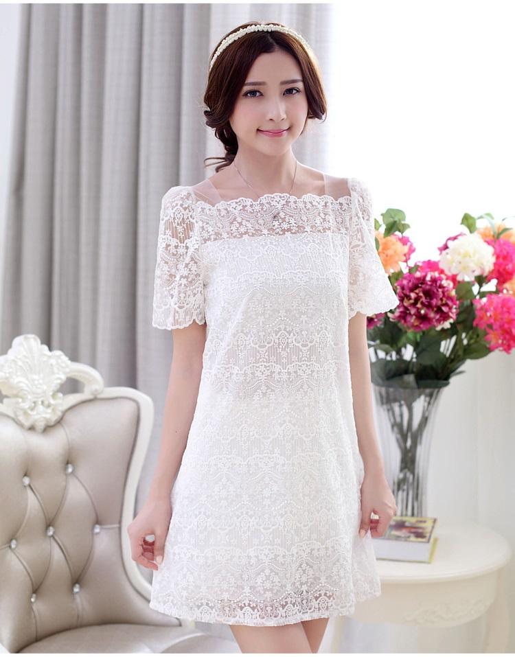 ชุดเดรสสั้น แฟชั่นเกาหลี เดรสผ้าปักสีขาว สวยหวาน ทรงตรง ซิบด้านหลังลำตัว มีซับใน