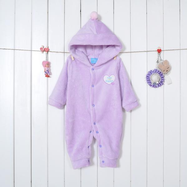 เสื้อผ้าเด็กทารก เพศหญิง 0-1-2 ปี ราคาส่งจากโรงงาน ชุดหมีแขนยาวขาวขาว ผ้านุ่มมีหมวก รหัส YH293 สีม่วง 1 ชุด ไซร์ 80 (ส่วนสูง 66-73 cm )