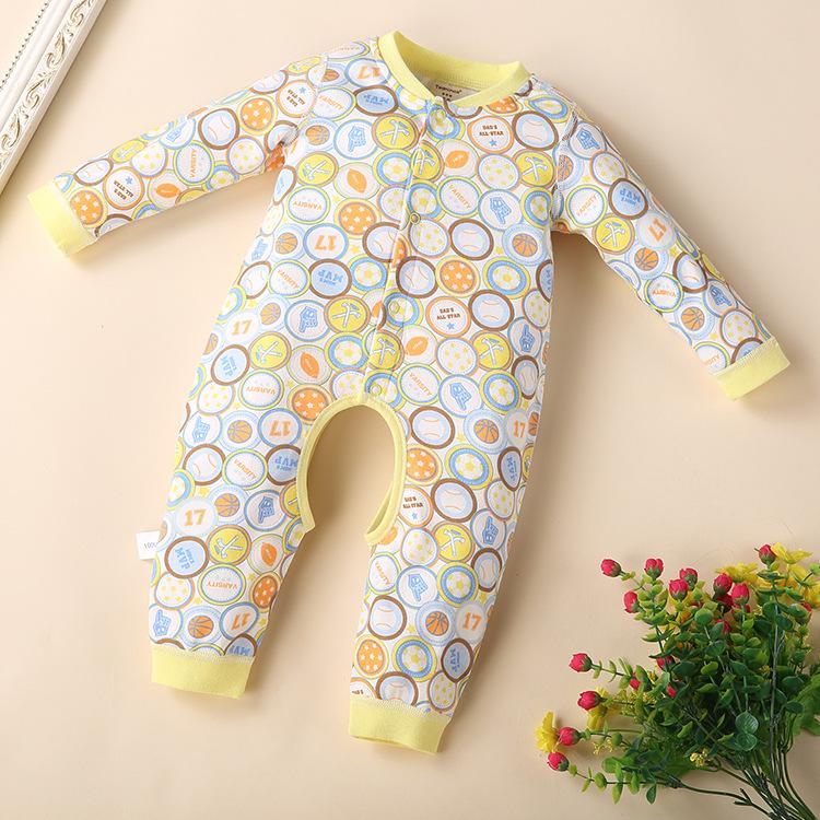 พร้อมส่ง เสื้อผ้าเด็กทารกแรกเกิด 0-1 ปี ราคาส่งจากโรงงาน ใช้ได้ทั้งเด็กหญิงเด็กชาย jump suit Romper ชุดหมี รหัส T-12015 สีเหลืองลายบาสเกตบอล 1ชุด ไซร์ 66 (ส่วนสูง 66cm )