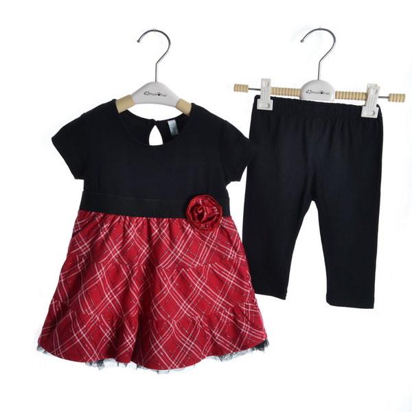 เสื้อผ้าเด็กทารก เพศหญิง 1-2 ปี ราคาส่งจากโรงงาน ใส่ฤดูร้อน ชุดเดรสกระโปรงแขนสั้น+กางเกงขายาวสีดำ รหัส D619 สีดำ-แดงตามรูป 1 ชุด ไซร์ 80 (ส่วนสูง 66-73 cm )