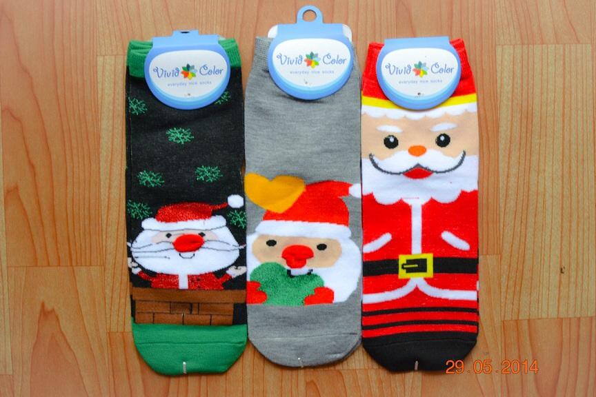 S210**พร้อมส่ง** (ปลีก+ส่ง) ถุงเท้าแฟชั่นเกาหลี ข้อยาว มีจมูก 3 มิติ ลายซานต้าครอส เนื้อดี งานนำเข้า(Made in China)