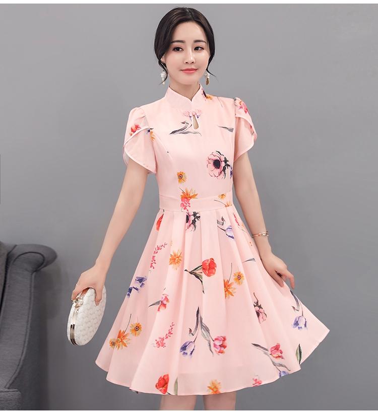 ชุดเดรสสั้น คอจีน ผ้าชีฟองชนิดเนื้อหนา ผ้าเนื้อดีมีน้ำหนักทิ้งตัวสวย แขนเสื้อเป็นผ้าไขว้กันตามแบบ