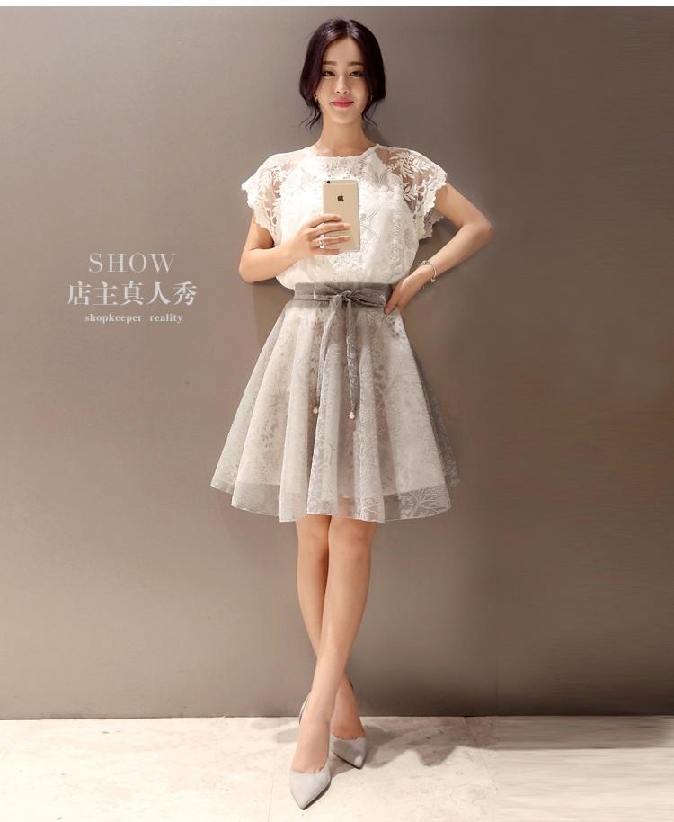 แฟชั่นเกาหลี set 2 ชิ้น เสื้อและกระโปรงสุดสวย