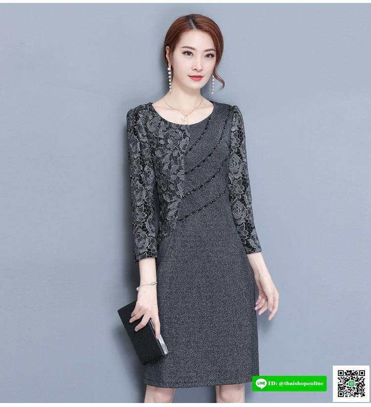 ชุดเดรสสั้น ผ้าโพลีเอสเตอร์ผสม spandex เนื้อนิ่มมาก และยืดหยุ่นได้ดีสีเทา