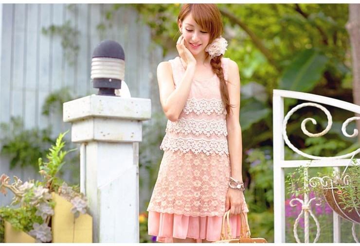 ชุดเดรสสั้น ชุดเดรส Brand YOCO พร้อมส่ง นำเข้าของแท้ 100% ชุดเดรสผ้าชีฟอง+ลูกไม้อย่างดี สีชมพูหวานๆ น่ารัก
