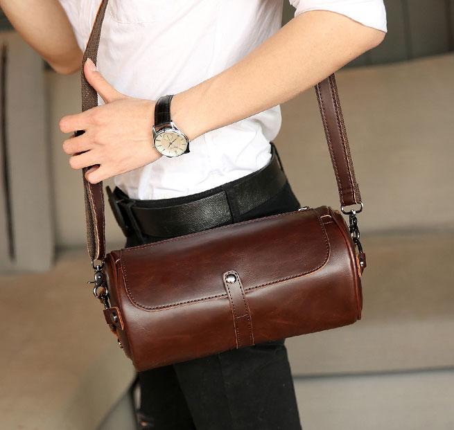 Pre-order กระเป๋าสะพายข้าง Messenger ผู้หญิง-ผู้ชาย ทรงหมอน ใส่ ipadmini 7.9 นิ้ว แฟขั่นเกาหลี รหัส Man-2035-28 สีน้ำตาล