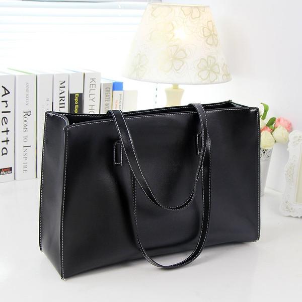 กระเป๋าผู้หญิงสะพายไหล่ใบใหญ่ แฟชั่นเกาหลี ยี่ห้อ Albeni แท้(สีดำ)