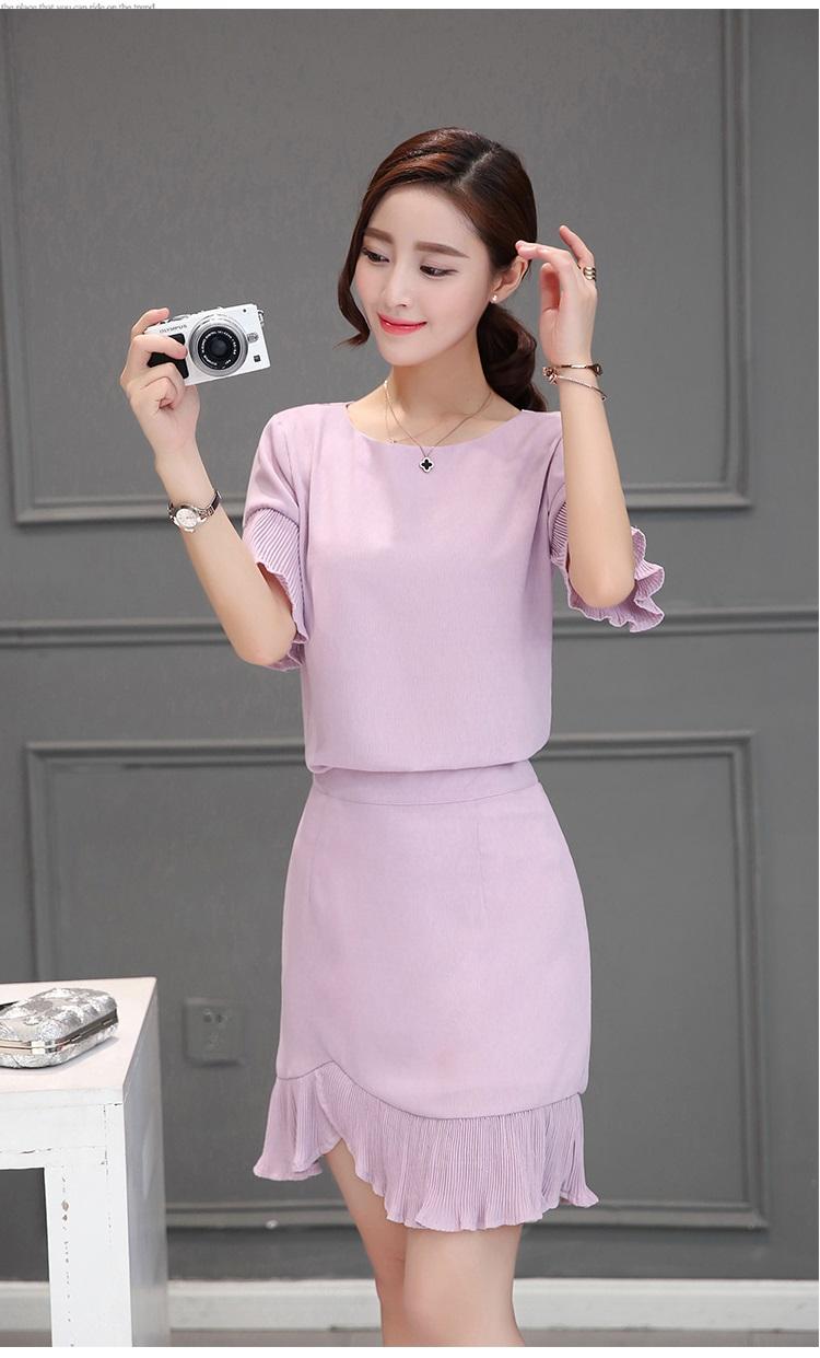 แฟชั่นเกาหลีมาใหม่ set เสื้อและกระโปรงสวยๆ สีกะปิสวยเก๋ครับ