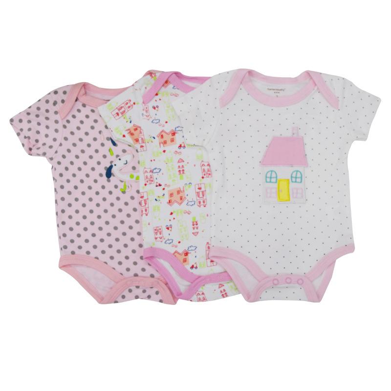 พร้อมส่ง gift set ชุดทารกใช้ได้ทั้งเพศหญิง-ชาย Jumpsuit Romper จั้มสูทแขนสั้น รหัส T-66034 สีชมพู ไซร์ 3M (เด็ก 0-3 เดือน ) /1 เช็ต 3 ชุดสุ่มแบบ ชุดละ 95บาท