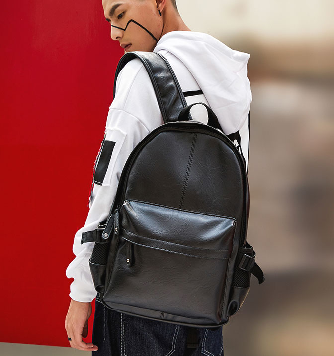 Pre-order กระเป๋าเป้สะพายหลัง เป้นักเรียน เป้หนัง ใส่หนังสือ ใส่คอม 14 นิ้ว เป้เดินทาง แฟขั่นเกาหลี รหัส Man-9024 สีดำ