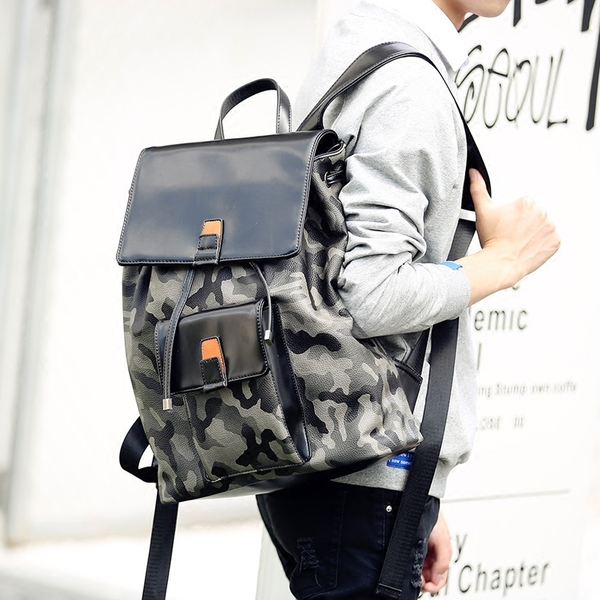 Pre-order กระเป๋าเป้สะพายหลัง เป้นักเรียนผู้ชายแฟชั่นเกาหลี รหัส Man-8695 ลายทหารพราง