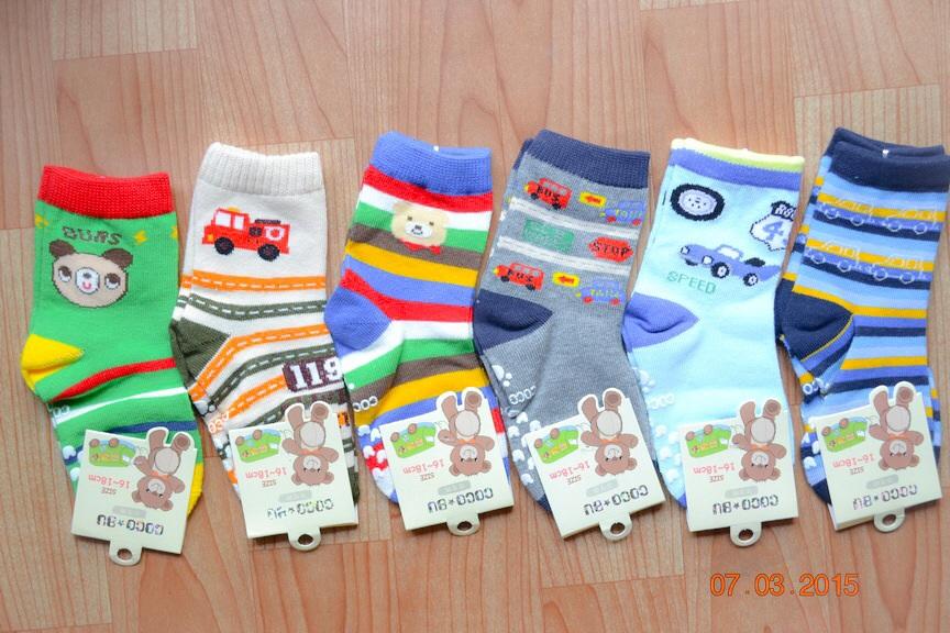 U040-10**พร้อมส่ง** (ปลีก+ส่ง) ถุงเท้าเด็กชายวัย 3-5 ปี COCO & BU (ขนาด 16-18 cm.) มีกันลื่น เนื้อดี งานนำเข้า ( Made in China)