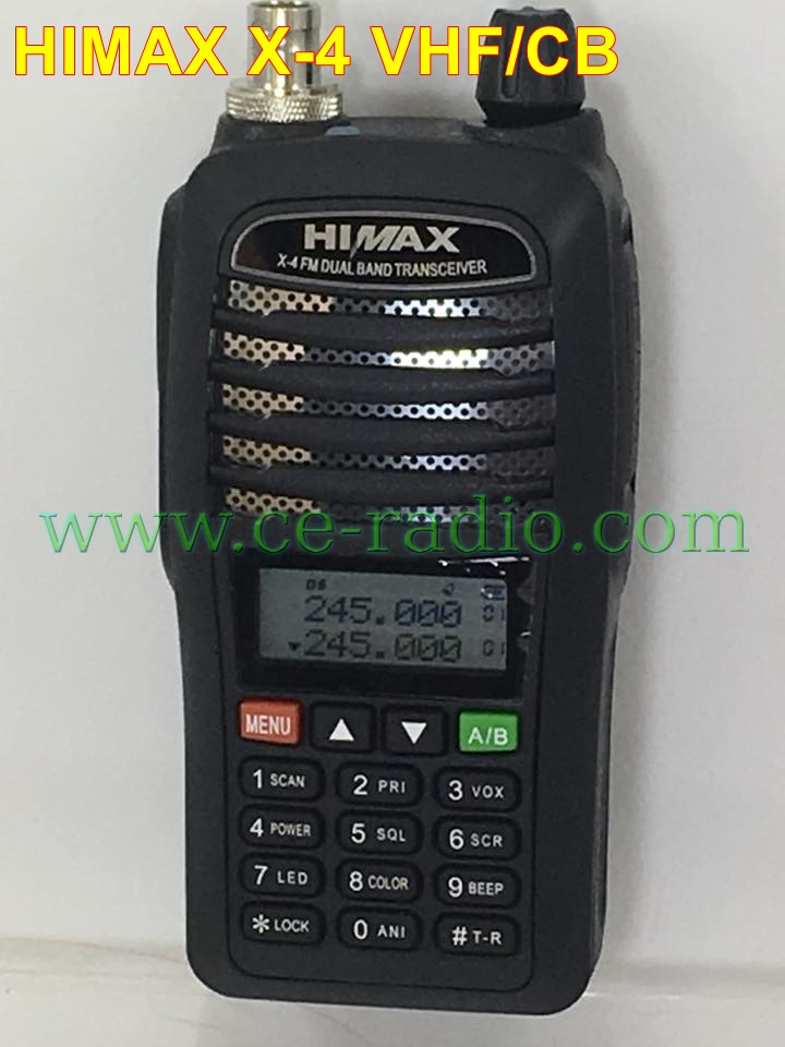 HIMAX X-4 VHF เครื่องดำ มี ปท.VR เปิด2ย่านได้ VHF/CB ท่านที่ผ่านการสอบ AR VR สามารถนำไปขอใบอนุญาติได้