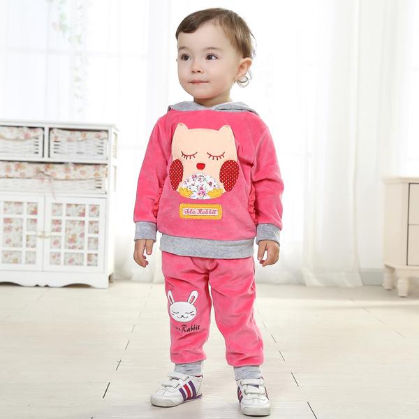 พร้อมส่ง เสื้อผ้าเด็กทารก เพศหญิง-ชาย 0-1-2 ปี ราคาส่งจากโรงงาน ชุดกันหนาว ชุดเสื้อแขนยาวมีหมวก กางเกงขายาว รหัส Q1189 สีชมพู ลายนกฮูก 1 ชุด ไซร์ 110 (ส่วนสูง 90-98 cm )