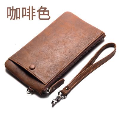 Pre-order กระเป๋าสตางค์ใบยาวผู้ชาย ใส่โทรศัพท์ แฟขั่นเกาหลี รหัส Man-QB1288 สีกาแฟ