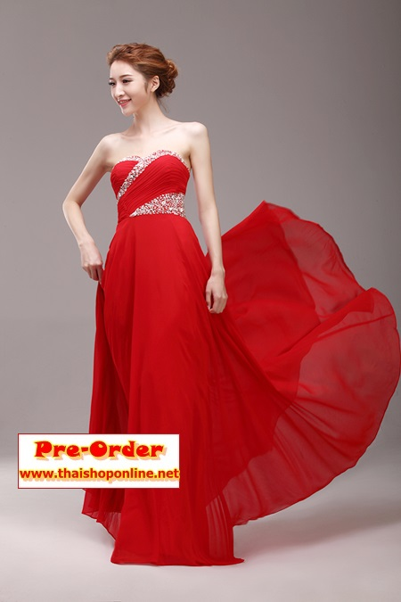 Pre-Order ชุดราตรียาว ชุดราตรีสีแดง เกาะอก ผ้าซีฟองอย่างดี ตกแต่งด้วยลูกปัดเพชร เหมาะใส่เป็นชุดออกงาน ชุดไปงานแต่งงานมากๆ