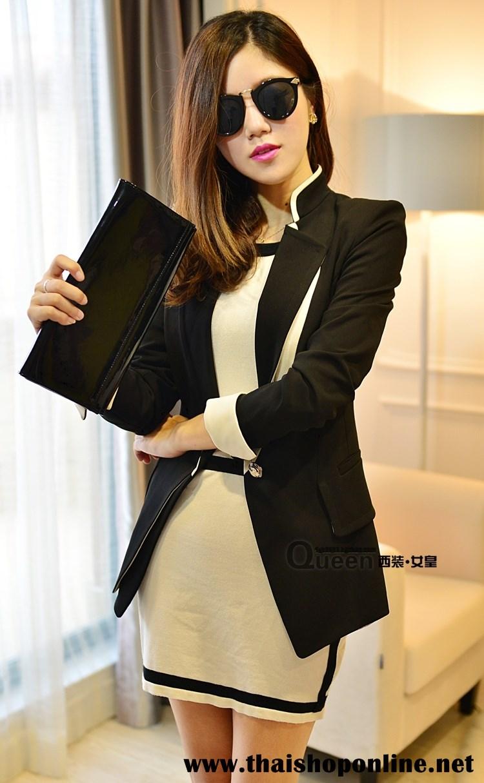 เสื้อสูทเกาหลี Rui Ri เสื้อสูทผ้าคอตตอนผสม เนื้อดีสีดำ ปกเสื้อ และปลายแขนเสื้อเย็บผสมกับผ้าสีขาว พร้อมส่ง
