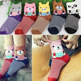 S027**พร้อมส่ง** (ปลีก+ส่ง)ถุงเท้าแฟชั่นเกาหลี ลายหมี ข้อสูง มีหู มี 5 สี (ดำ น้ำเงิน แดง เหลือง ม่วง)เนื้อดี งานนำเข้า ( Made in China)