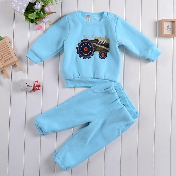 เสื้อผ้าเด็กทารก เพศหญิง-ชาย 1-2-3 ปี ราคาส่งจากโรงงาน ชุดกันหนาว ชุดเสื้อแขนยาว-กางเกงขายาว รหัส D1173 สีฟ้า ปักแทรกเตอร์ 1 ชุด ไซร์ 110 (ส่วนสูง 90-98 cm )