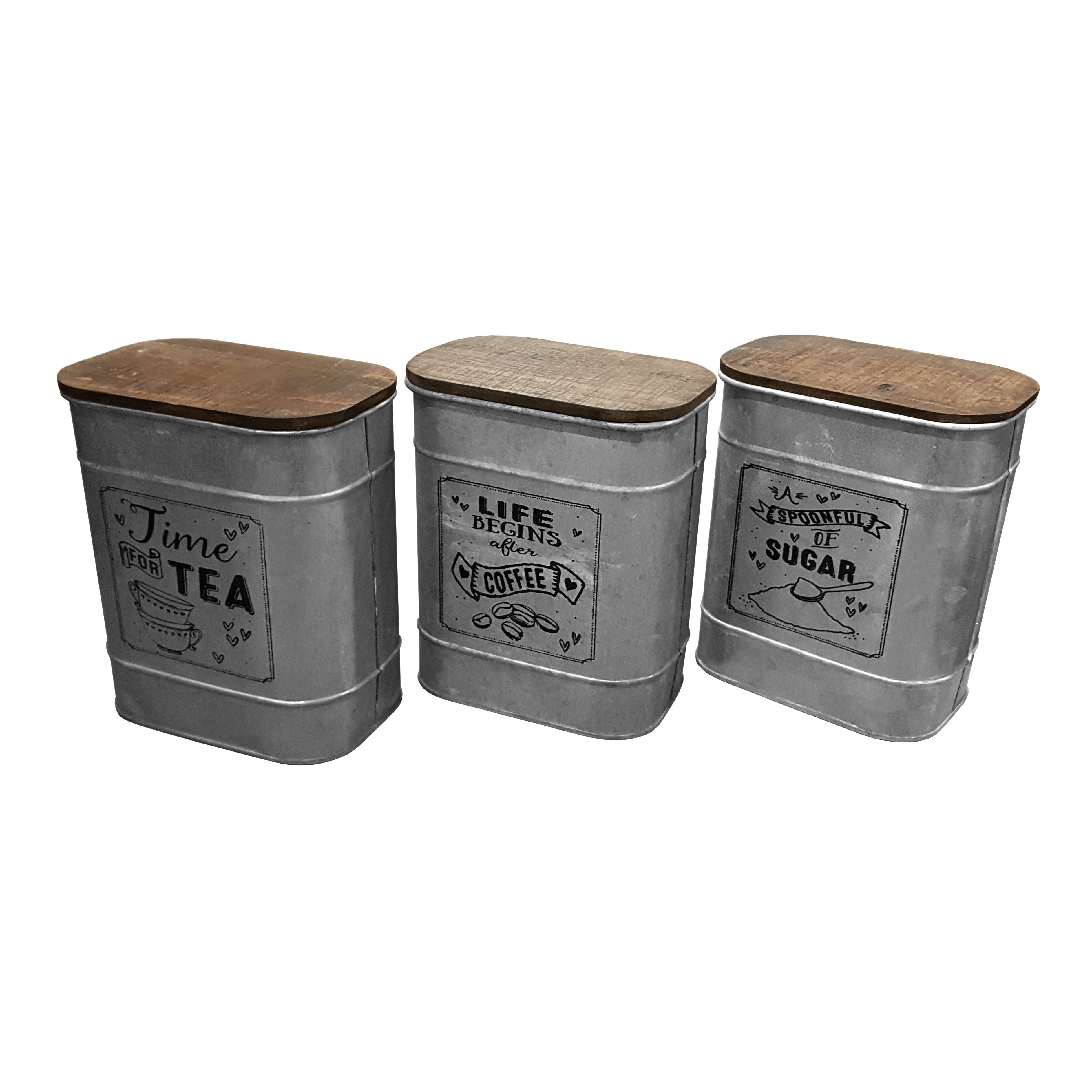 Galvanized Canister w/ Wood Lid