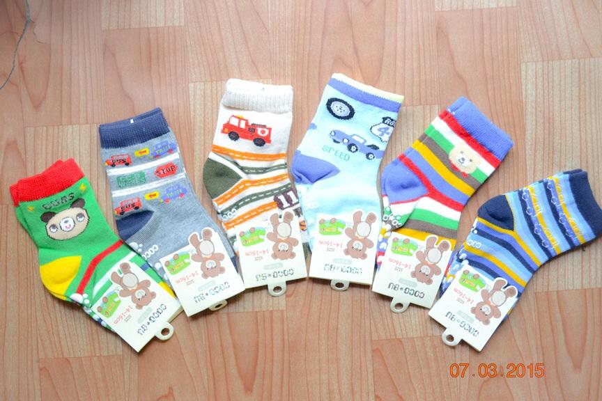 U040-9**พร้อมส่ง** (ปลีก+ส่ง) ถุงเท้าเด็กชายวัย 2-3 ปี COCO & BU (ขนาด 14-16 cm.) มีกันลื่น เนื้อดี งานนำเข้า ( Made in China)