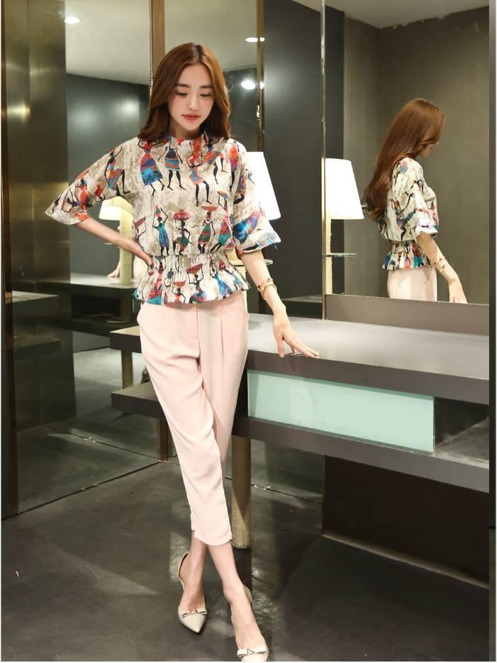 แฟชั่นเกาหลี set เสื้อ และกางเกงขายาว น่ารักมากๆ