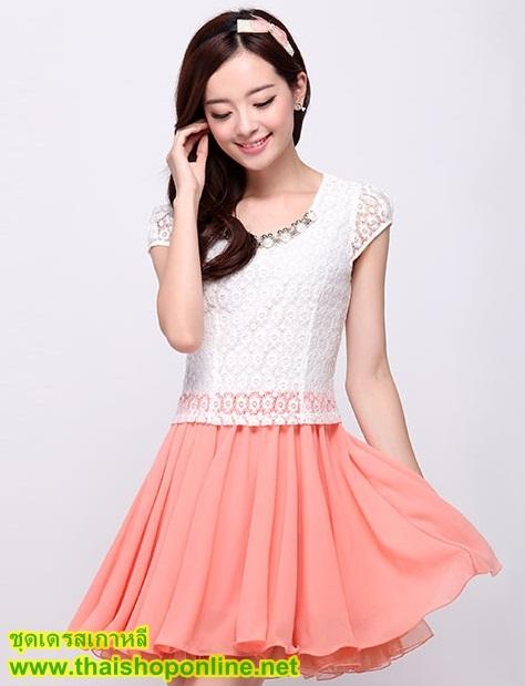 ชุดเดรสสั้น แฟชั่นเกาหลี น่ารัก สีชมพู เสื้อลูกไม้ สีขาว แขนสั้น กระโปรงสั้นชีฟอง ซิปข้าง เหมือนแบบ (มีรูปสินค้าจริง) พร้อมส่ง