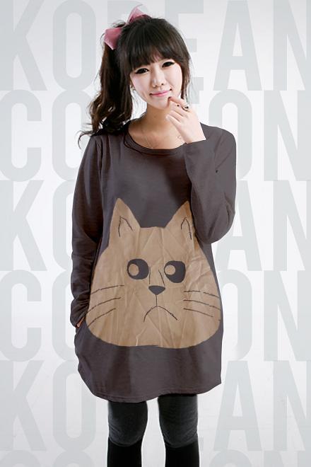 เสื้อยืดแฟชั่นตัวยาว ลายแมว แขนยาว สีเทา (สำหรับสาวตัวใหญ่ หรือสาวๆ ที่ชอบเสื้อตัวโคร่ง)