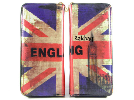 พร้อมส่ง AB-7001-1 สีน้ำเงิน กระเป๋าสตางค์ใบยาว พร้อมสายคล้องมือลายธงชาติอังกฤษ
