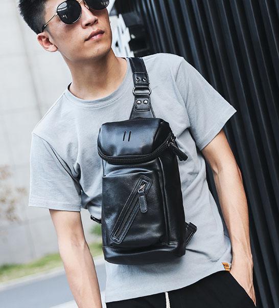Pre-order กระเป๋าหนังคาดอกสะพายไหล่ แฟชั่นเกาหลี รหัส Man-9883 สีดำ