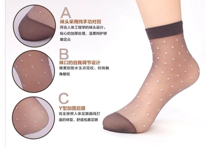 S593 **พร้อมส่ง** (ปลีก+ส่ง) ถุงเท้า เพื่อสุขภาพ ผลิตจากเส้นใยไม้ไผ่ ข้อยาว เนื้อถุงน่อง ลายจุด มี 2 สี ,10 คู่ต่อแพ็ค เนื้อดี งานนำเข้า(Made in China)