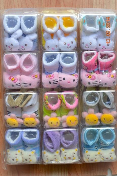 U011-5**พร้อมส่ง**(ปลีก+ส่ง) ถุงเท้าเด็กอ่อน วัยแรกเกิด-1 ขวบ ติดหัวสัตว์ ไม่มีกันลื่น พับข้อ เนื้อดี งานนำเข้า (Made in China)